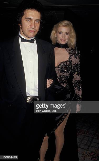 Musician Gene Simmons of Kiss and actress Shannon Tweed attending 'Friars Club Roast of Liza Minnelli' on April 5 1987 at the Century Plaza Hotel in...