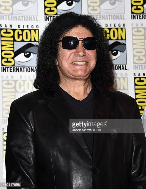 Musician Gene Simmons of Kiss attends the ScoobyDoo and Kiss Rock and Roll Mystery Press Room during ComicCon International 2015 at the at Hilton...