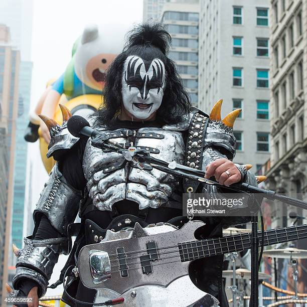 Musician Gene Simmons of KISS performs during the 88th Annual Macy's Thanksgiving Day Parade on November 27 2014 in New York City