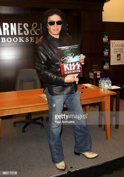 """Musician Gene Simmons signs copies of """"KISS Kompendium"""" at Barnes & Noble bookstore at The Grove on February 8, 2010 in Los Angeles, California."""