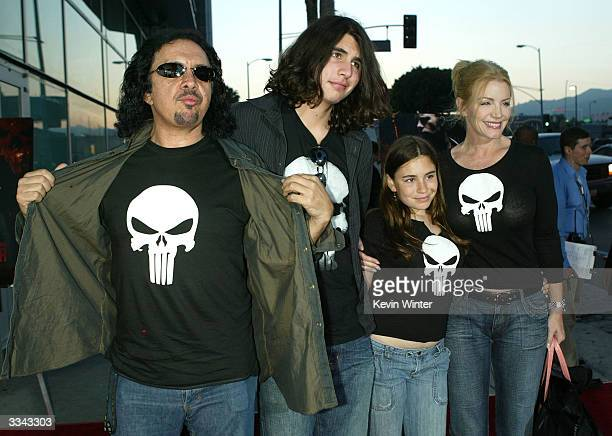 """Musician Gene Simmons, son Nicholas, daughter Sophie and his partner actress Shannon Tweed attend the premiere of the Lions Gate film """"The Punisher""""..."""