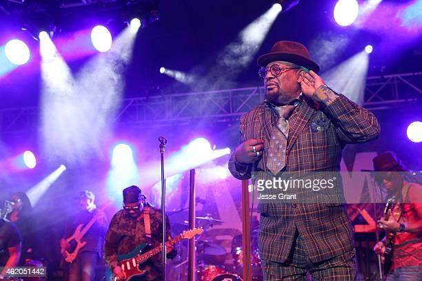 Musician George Clinton performs at the 2015 National Association of Music Merchants show at the Anaheim Convention Center on January 23, 2015 in...