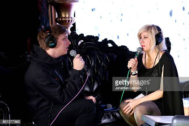 Musician George Ezra and radio personality Kat Corbett attend 1067 KROQ Almost Acoustic Christmas 2015 at The Forum on December 13 2015 in Los...