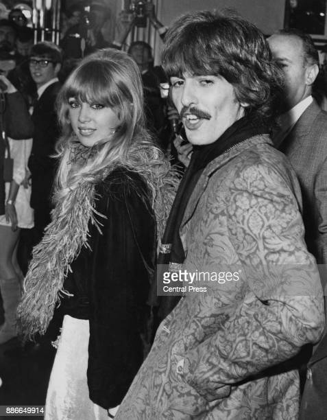 Musician George Harrison of English rock band the Beatles with his wife model Pattie Boyd London 1969