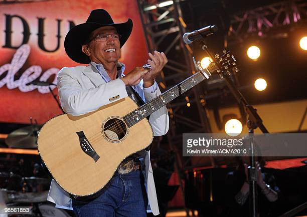 Musician George Strait performs onstage during Brooks Dunn's The Last Rodeo Show at MGM Grand Garden Arena on April 19 2010 in Las Vegas Nevada
