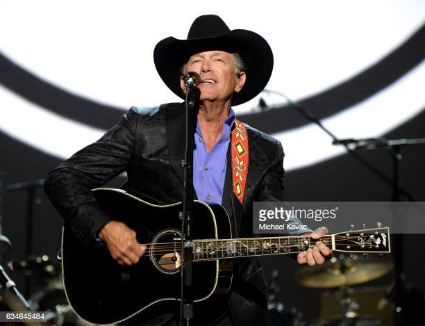 Musician George Strait performs onstage during MusiCares Person of the Year honoring Tom Petty at the Los Angeles Convention Center on February 10...