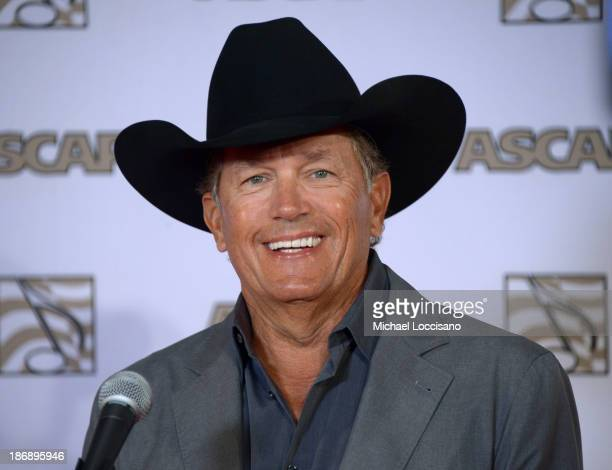 Musician George Strait speaks during a press conference at the 51st annual ASCAP Country Music Awards at Music City Center on November 4 2013 in...