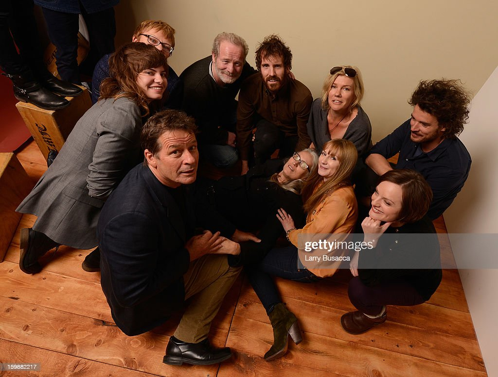 Musician Georgi Kay, producer Philippa Campbell, actor Peter Mullan, actor Thomas M. Wright, Robin Malcolm, director Garth Davis, (bottom L-R) writer Gerard Lee, director/writer Jane Campion, actresses Holly Hunter and Elisabeth Moss pose for a portrait during the 2013 Sundance Film Festival at the Getty Images Portrait Studio at Village at the Lift on January 19, 2013 in Park City, Utah.