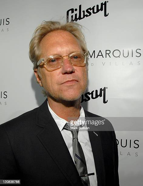 Musician Gerry Beckley of America attends the Gibson Through The Lens Exhibition on July 30 2008 at the Sunset Marquis Hotel and Villas in West...