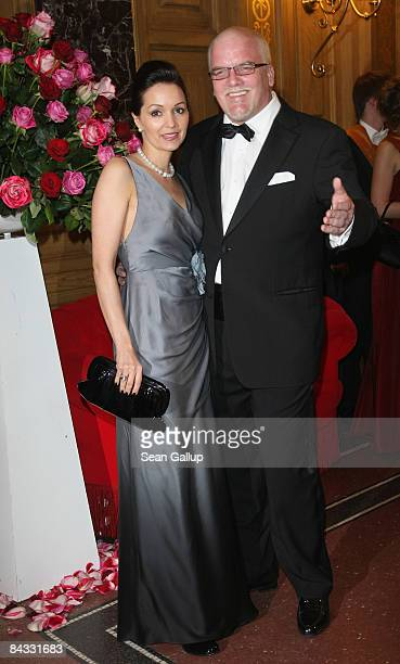 Musician Gerry Friedle who goes by the artist's name DJ Oetzi and his wife Sonja Friedle attend the Semper Opera Ball on January 16 2009 in Dresden...
