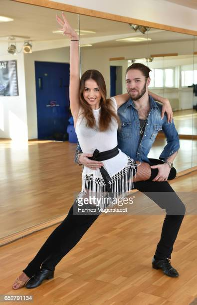 Musician Gil Ofarim and professional dancer Ekat Lenova pose at a photo call for the tenth season of the television competition 'Let's Dance' on...