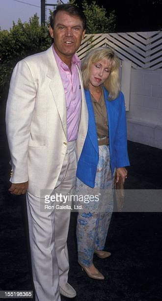 Musician Glen Campbell and Kimberly Woollen sighted on June 22 1987 at Spago Restaurant in West Hollywood California