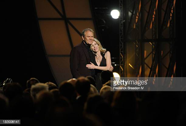 Musician Glen Campbell and wife Kimberly Woolen during the 45th annual CMA Awards at the Bridgestone Arena on November 9 2011 in Nashville Tennessee