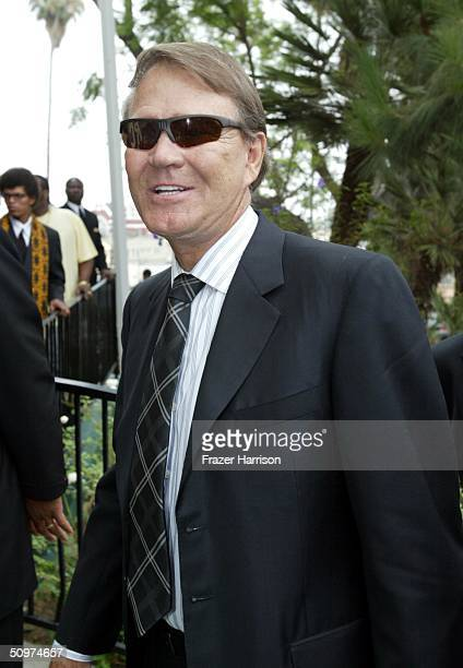 Musician Glen Campbell arrives at the First AME Church for the Funeral of Musician of Ray Charles on June 18 2004 in Los Angeles California