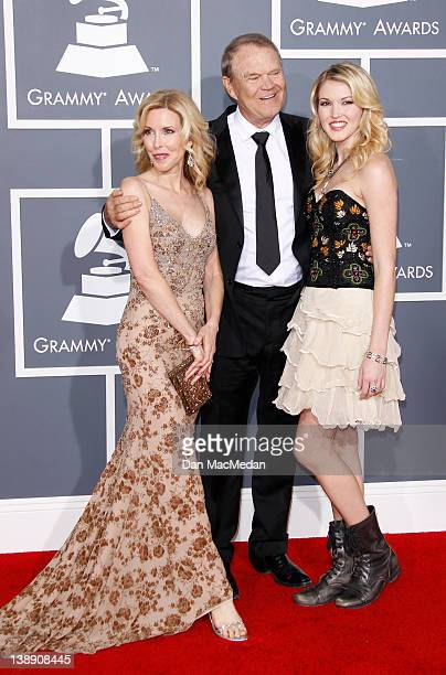 Musician Glen Campbell Kimberly Woolen and Ashley Campbell arrive at the 54th Annual GRAMMY Awards held at the Staples Center on February 12 2012 in...