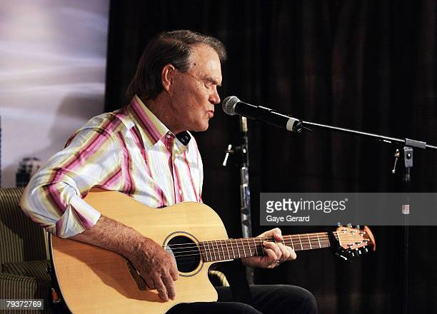Musician Glen Campbell performs during a photo call at the ShangriLa Hotel Sydney on January 30 2008 in Sydney Australia