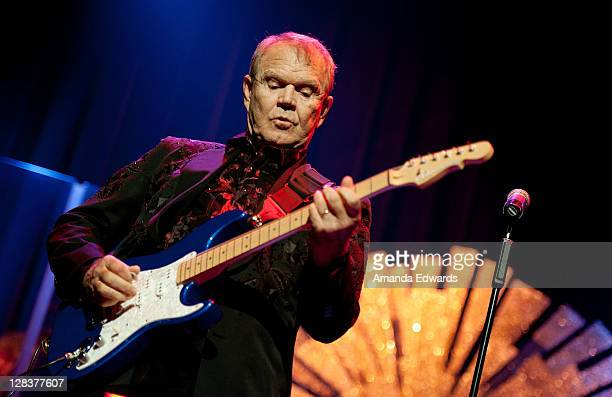 Musician Glen Campbell performs onstage as part of his The Goodbye Tour at Club Nokia on October 6 2011 in Los Angeles California