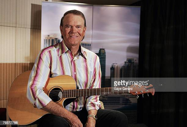 Musician Glen Campbell poses during a photo call at the ShangriLa Hotel Sydney on January 30 2008 in Sydney Australia