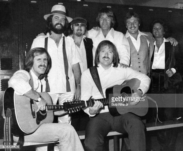 Musician Glen Campbell with Jim Seals and Darrell Crofts and friends backstage prior to special evening concert at Seals Crofts National Invitational...