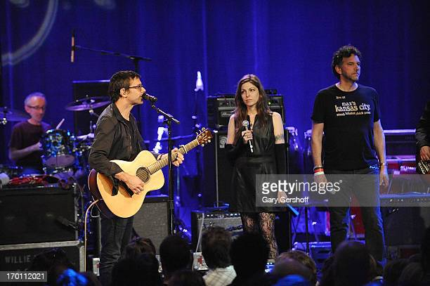 Musician Glen Phillips of the band Toad The Wet Sprocket and Amy Nelson perform on stage at the Hard Rock International's Wille Nelson Artist...