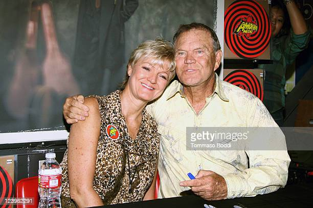 Musician Glenn Campbell and daughter Debby CampbellCloyd sign copies of his CD Ghost On The Canvas at Amoeba Music on September 6 2011 in Hollywood...