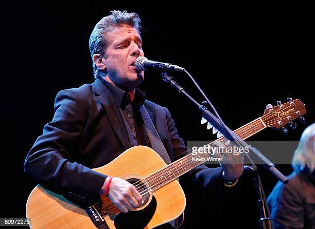 Musician Glenn Frey of the Eagles performs onstage during day 1 of the 2008 Stagecoach Country Music Festival held at the Empire Polo Field on May 2...