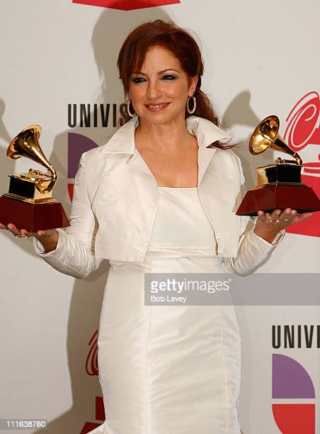 Musician Gloria Estefan poses in the press room at the 9th Annual Latin GRAMMY Awards held at the Toyota Center on November 13 2008 in Houston Texas