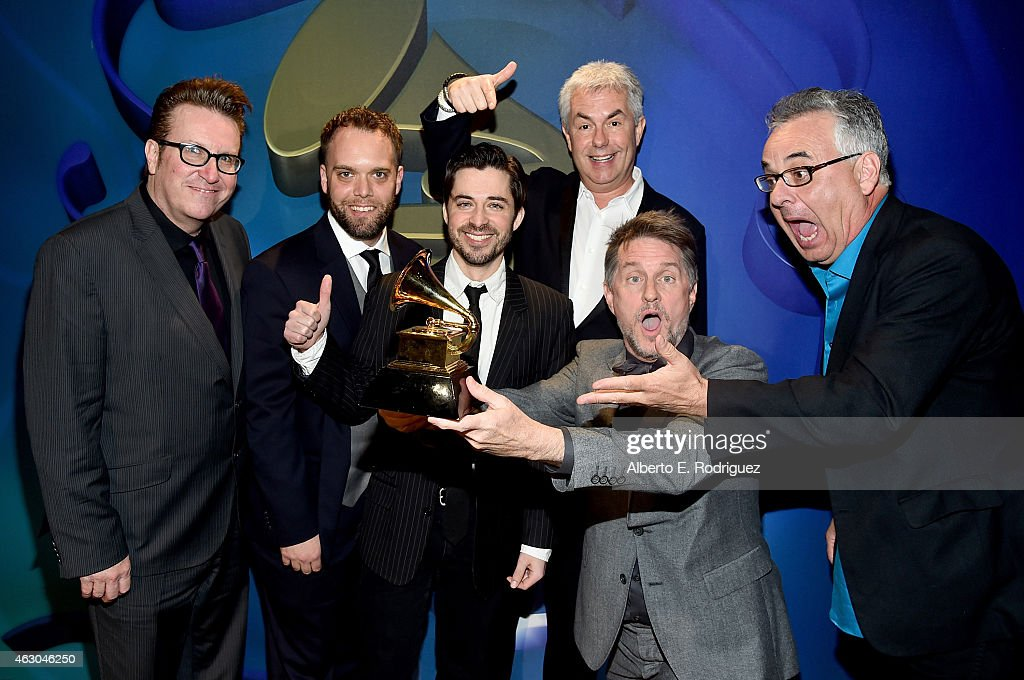 Musician Gordon Goodwin (2nd R) and Gordon Goodwin's Big Phat Band, winners of the Best Large Jazz Ensemble Album for 'Life in the Bubble,' onstage at the Premiere Ceremony during The 57th Annual GRAMMY Awards at Nokia Theatre L.A. LIVE on February 8, 2015 in Los Angeles, California.