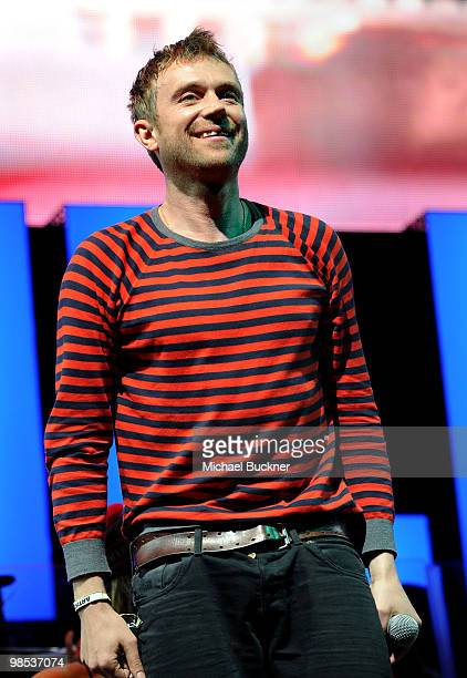 Musician Gorillaz Damon Albarn from the group Gorillaz performs during day 3 of the Coachella Valley Music Art Festival 2010 held at The Empire Polo...