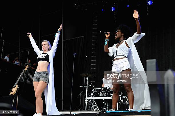 Musician Grace Chatto of Clean Bandit performs with musician Elisabeth Troy onstage during day 2 of the Firefly Music Festival on June 19, 2015 in...