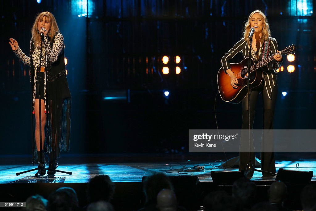 Musician Grace Potter performs onstage with Sheryl Crow at the 31st Annual Rock And Roll Hall Of Fame Induction Ceremony at Barclays Center of Brooklyn on April 8, 2016 in New York City.