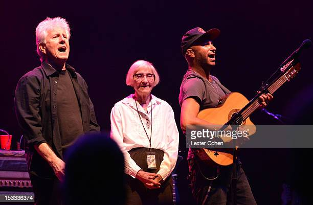 Musician Graham Nash of Crosby Stills Nash Musician Tom Morello and Mary Morello seen onstage in support of the No On Proposition 32 Concert at Nokia...