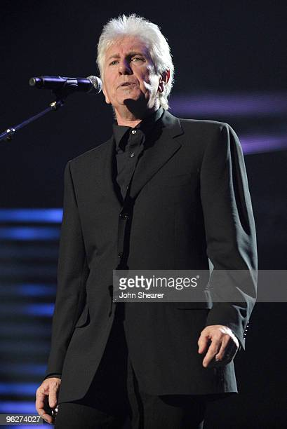 Musician Graham Nash performs at the 2010 MusiCares Person Of The Year Tribute To Neil Young at the Los Angeles Convention Center on January 29 2010...