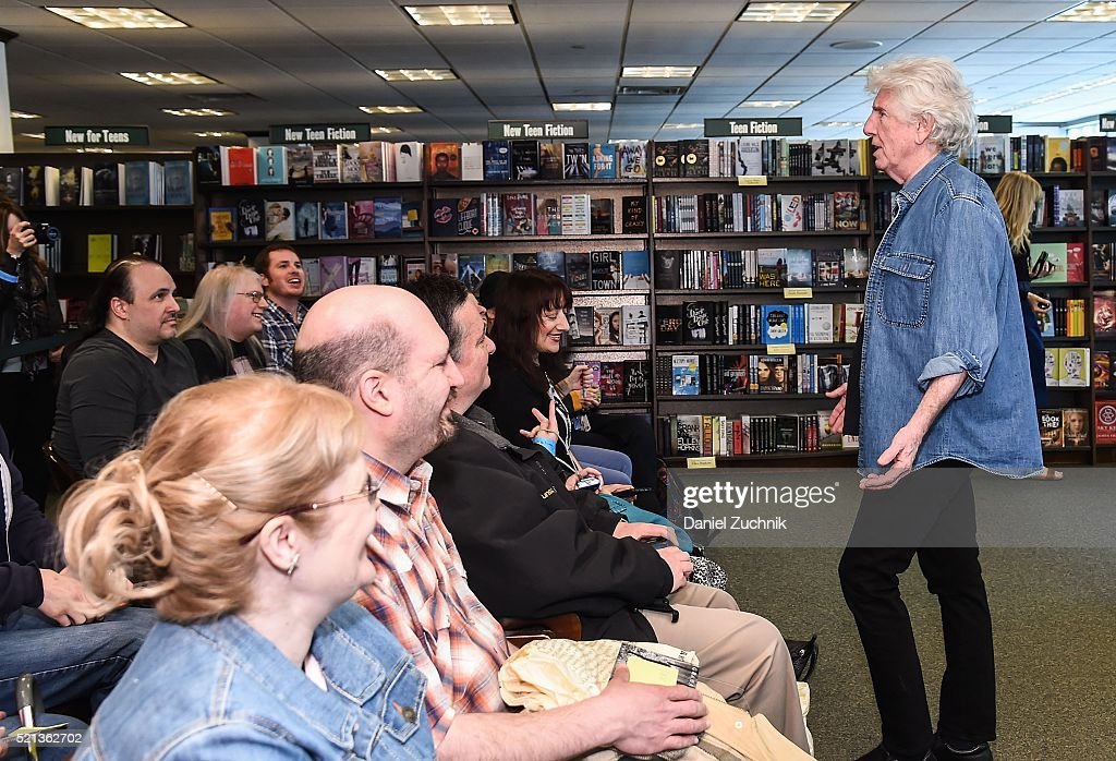 Musician Graham Nash talks to fans before signing copies of his new album 'The Path Tonight' at Barnes & Noble Citigroup Center on April 15, 2016 in New York City.