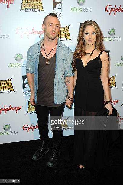Musician Greg Puciato and actress Jenna Haze arrives at the 2012 Revolver Golden Gods Award Show at Club Nokia on April 11 2012 in Los Angeles...