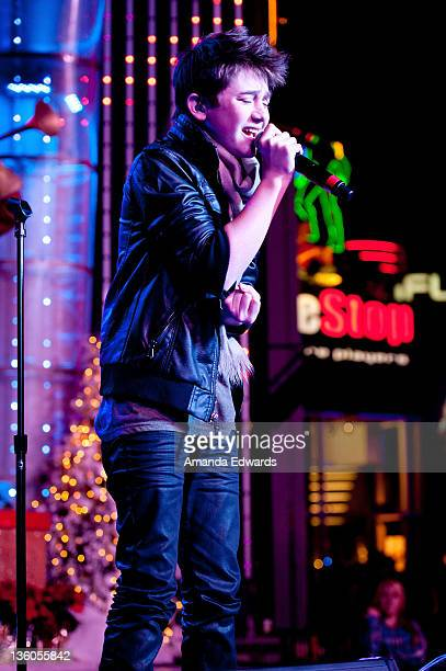 Musician Greyson Chance performs onstage at The Salvation Army's Red Kettles 2nd Annual Rock The Red Kettle Holiday Concert at 5 Towers Outdoor...