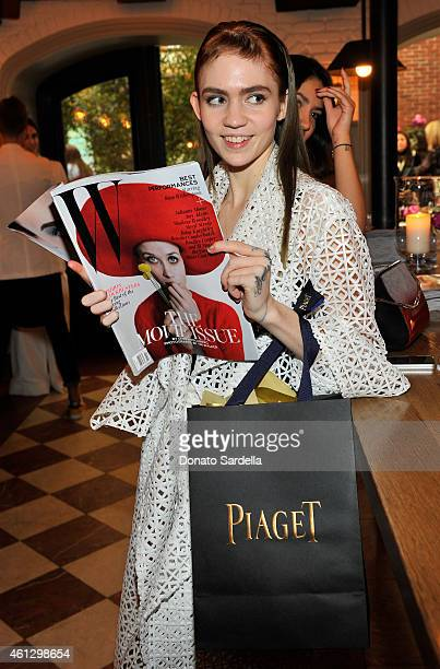 Musician Grimes attends Lynn Hirschberg Celebrates W's It Girls with Piaget and Dom Perignon at AOC on January 10 2015 in Los Angeles California