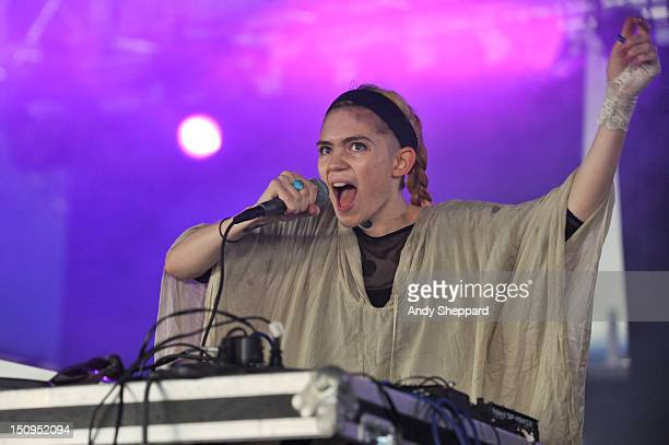 Musician Grimes performs on stage during Reading Festival 2012 at Richfield Avenue on August 25 2012 in Reading United Kingdom