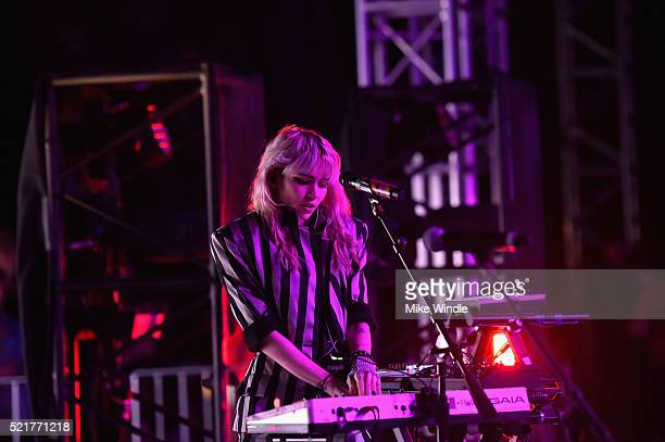 Musician Grimes performs onstage during day 2 of the 2016 Coachella Valley Music Arts Festival Weekend 1 at the Empire Polo Club on April 16 2016 in...