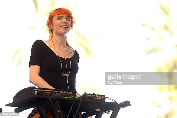 Musician Grimes performs onstage during day 3 of the 2013 Coachella Valley Music Arts Festival at the Empire Polo Club on April 14 2013 in Indio...