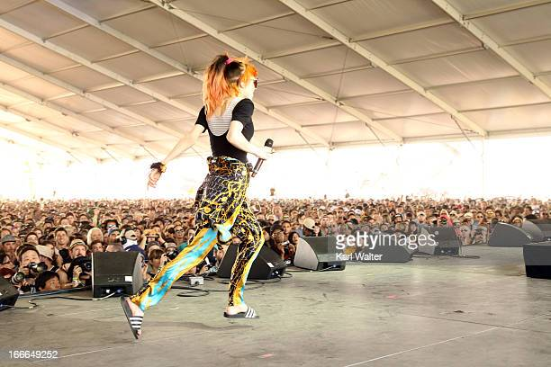 Musician Grimes performs onstage during day 3 of the 2013 Coachella Valley Music & Arts Festival at the Empire Polo Club on April 14, 2013 in Indio,...