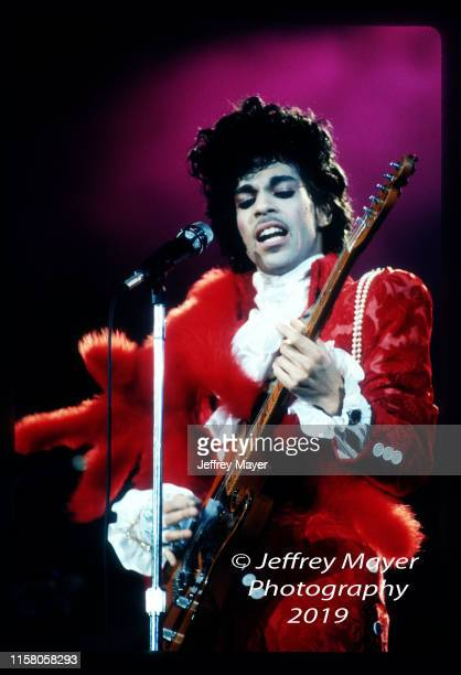 Musician Guitarist Singer Songwriter Producer Prince performs in concert Circa 1984 in Los Angeles California