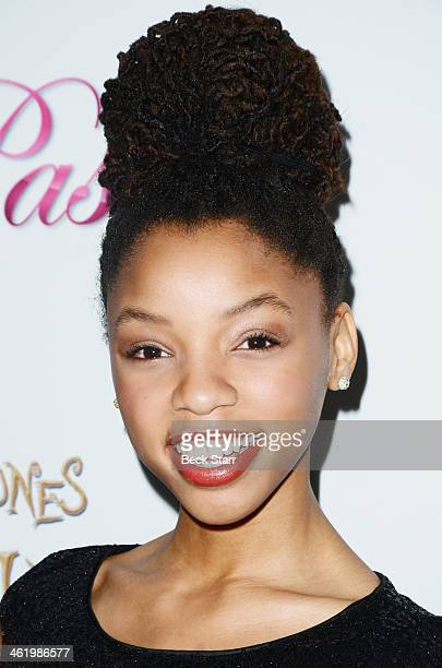 Musician Halle Bailey arrives at Pastry Shoes presents Coco Jones' Sweet Sixteen Birthday Party at SLS Hotel on January 11, 2014 in Beverly Hills,...