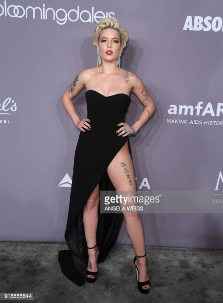 Musician Halsey attends the 2018 amfAR Gala New York at Cipriani Wall Street on February 7 2018 in New York City / AFP PHOTO / ANGELA WEISS