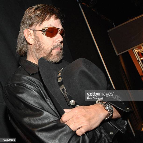 Musician Hank Williams Jr. Backstage during CMT Giants honoring Hank Williams Jr. At the Gibson Amphitheatre on October 25, 2007 in Los Angeles,...