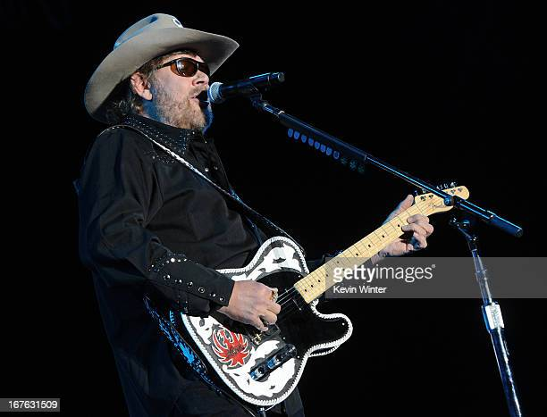 Musician Hank Williams Jr. Performs at day 1 of the 2013 Stagecoach California's Country Music Festival at The Empire Polo Club on April 26, 2013 in...