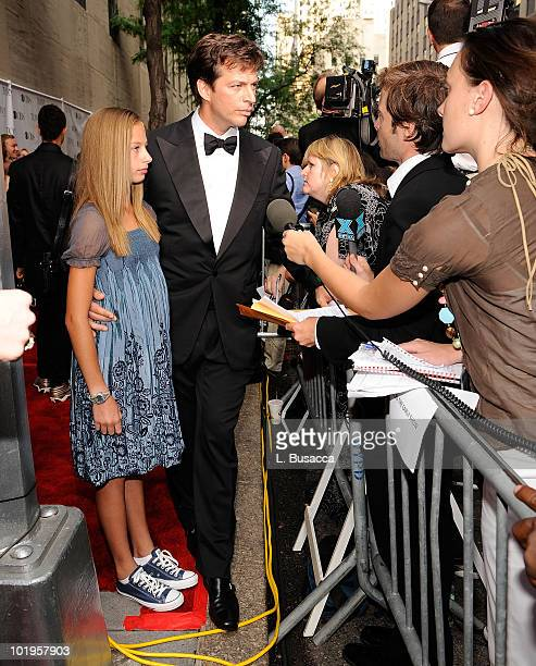Musician Harry Connick Jr and daughter Georgia Connick interviewed on the red carpet during the 62nd Annual Tony Awards at Radio City Music Hall on...