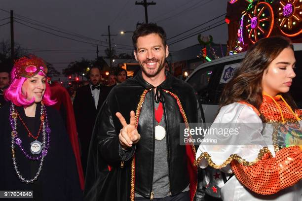 Musician Harry Connick Jr rides in the 2018 Krewe of Orpheus Parade the krewe's 25th anniversary on February 12 2018 in New Orleans Louisiana