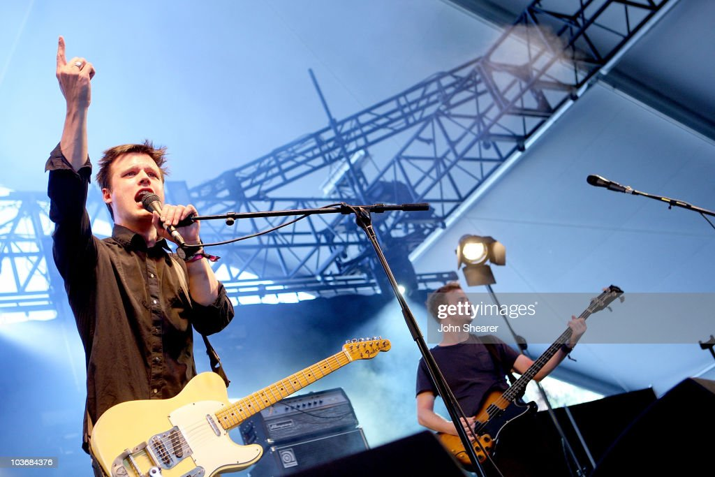 Musician Harry McVeigh of White Lies performs during day 1 of the Coachella Valley Music & Arts Festival 2009 at the Empire Polo Club on April 17, 2009 in Indio, California.