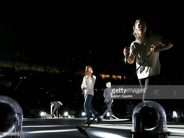 Musician Harry Styles of One Direction performs at Arrowhead Stadium on July 28 2015 in Kansas City Missouri